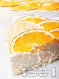 Лесена и бърза домашна чийзкейк торта с цитрусови плодове (лимони и портокали), рикота (или извара) и цедено кисело мляко (с желатин, без печене) - снимка на рецептата